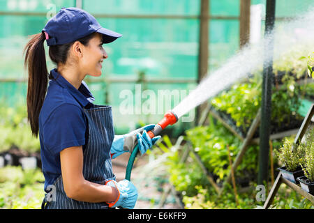 pretty female nursery worker watering plants in greenhouse - Stock Photo