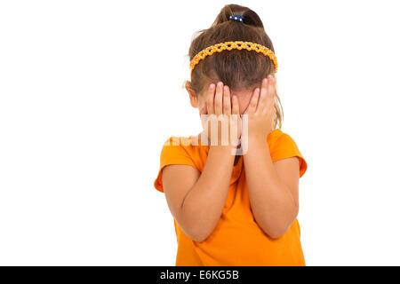 sad little girl crying isolated on white - Stock Photo