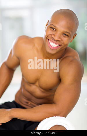 portrait of fit young African man after exercise - Stock Photo