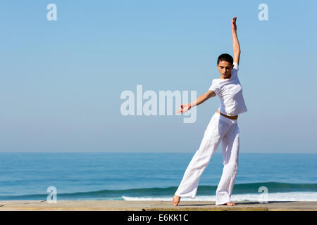 healthy woman practicing dancing outdoors - Stock Photo