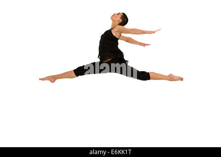 young female dancer dancing on white background - Stock Photo