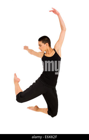fit dancer jumping isolated on white background - Stock Photo