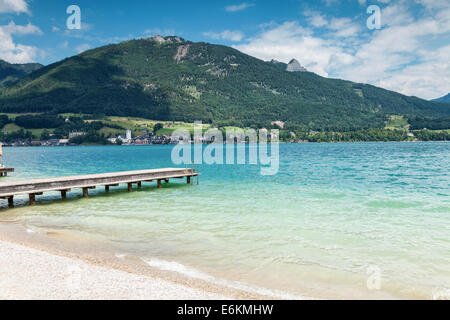 Wolfgangsee lake with turquoise waters close to Salzburg in Austria - Stock Photo