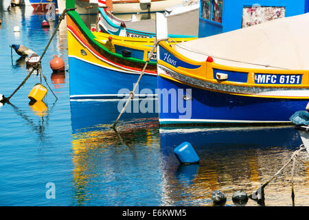 Eye of Osiris Luzzus Malta Msida Creek Valletta fishing boats - Stock Photo