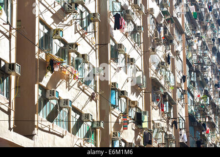 Tightly Spaced Apartments Building On Chung Yeung Street, Hong Kong. - Stock Photo