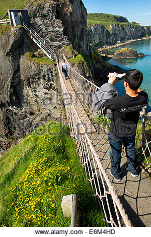 Carrick-a-rede Rope Bridge, Co. Antrim, Northern Ireland, - Stock Photo