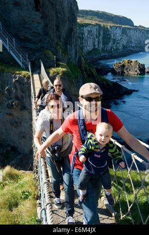 Carrick-a-rede Rope Bridge, North Coast, Northern Ireland - Stock Photo