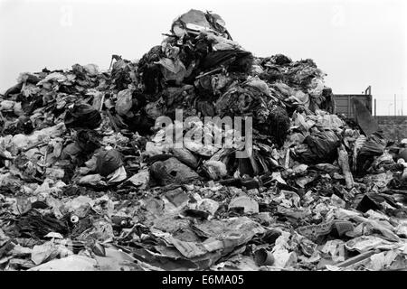 mounds of garbage at a landfill site in the 1990s which is now buried beneath port solent portsmouth england uk - Stock Photo