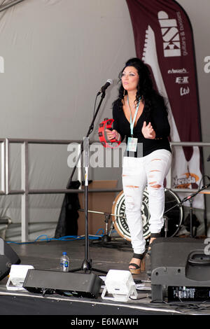 female singer performs on one of the stages at the victorious festival 2014 southsea england uk - Stock Photo