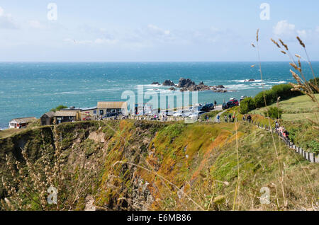 The Lizard Peninsula Cornwall england UK  Polpeor Cafe on the most southerly point. - Stock Photo
