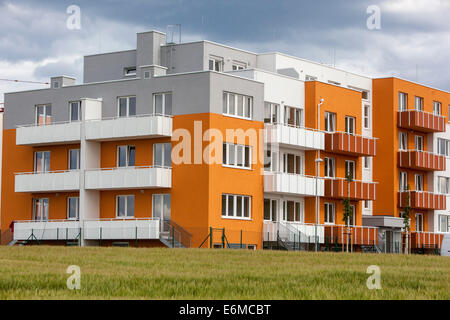 New residential buildings in Prague Czech Republic - Stock Photo