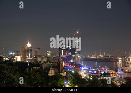 View from Hamburg at night - Stock Photo