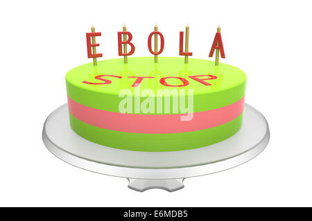 Cake with stop ebola inscription, isolated on white, 3d render - Stock Photo