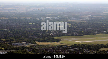 aerial view of an Air France passenger jet taking off from Birmingham International Airport, UK - Stock Photo
