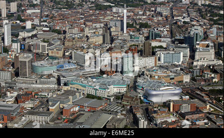 aerial view of Birmingham city centre with The Bull Ring & Selfridges Store prominent - Stock Photo