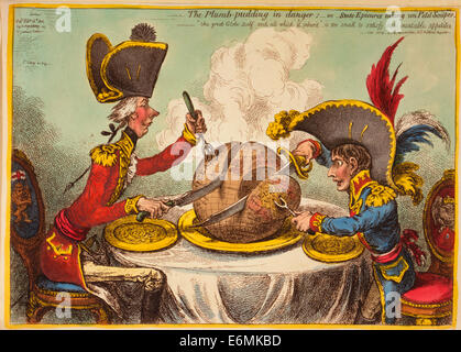 The Plumb-pudding in danger, or, State epicures taking un petit souper. William Pitt, wearing a regimental uniform - Stock Photo