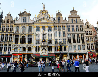 Facades of Beautiful old buildings in the Grand Place in the center of Brussels. - Stock Photo