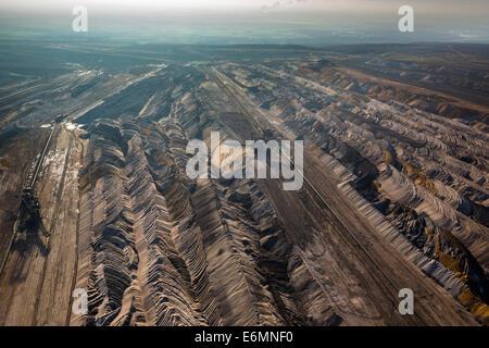 Aerial view, Hambach open pit mine, earth fills, Niederzier, Jülich-Zülpicher Börde region, North Rhine-Westphalia, - Stock Photo