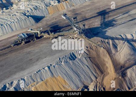 Aerial view, an open cast mine excavator in the Hambach open pit mine, Niederzier, Jülich-Zülpicher Börde region - Stock Photo