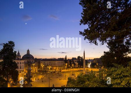 View from the Pincio to Piazza del Popolo, Rome, Lazio, Italy - Stock Photo