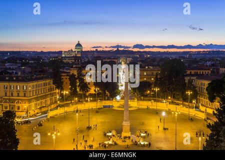 View from the Pincio to Piazza del Popolo with obelisk, Rome, Lazio, Italy - Stock Photo