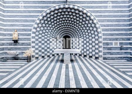Interior view, granite Church of San Giovanni Battista, modern church designed by architect Mario Botta, completed - Stock Photo
