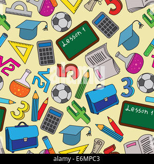 Seamless Pattern with school doodles - Stock Photo