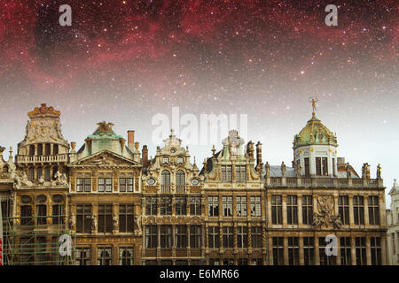 Brussels night. Elements of this image furnished by NASA - Stock Photo