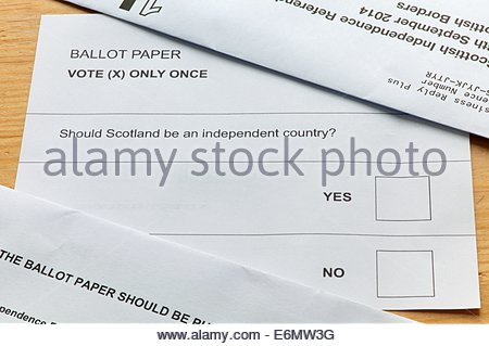 Jedburgh, Scotland, 27th August 2014 - Those deciding by post have been issued their vote in the Scottish Independence - Stock Photo