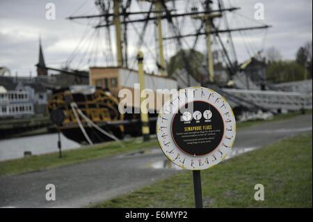 Educational installation explaining semaphore flags. Salem Maritime National Historic Site, Salem, Massachusetts - Stock Photo
