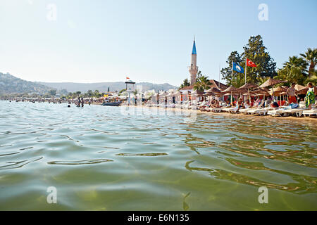 Looking back towards the beach from the water in Bitez - Stock Photo
