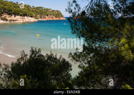 Swimmers at the Chrisi Milia beach in Alonnisos, Greece on August 2014. - Stock Photo