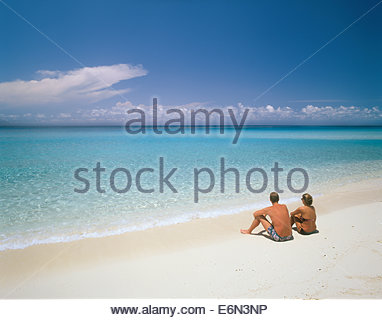 Beach on North Bimini in the warm Gulf Stream current of the Atlantic Ocean in the Bahamas - Stock Photo