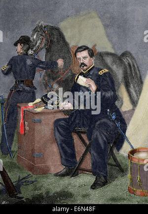 George Brinton McClellan (1826-1885). American military. Engraving. Colored. - Stock Photo