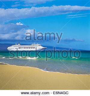 Photo illustration of cruise ship CROWN PRINCESS visiting island of Maui in the State of Hawaii USA. - Stock Photo