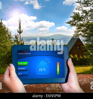 The eco-friendly house in the mountains - Stock Photo
