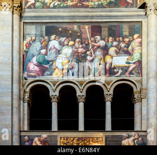 Paintings in the nave of the Duomo, Parma, Emilia Romagna, Italy - Stock Photo