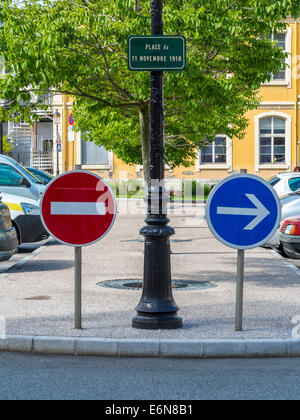 No entry and direction sign in Albertville, Savoie, Rhone Alpes, France - Stock Photo