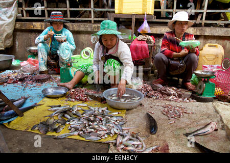 Cambodia, Southeast Asia, traditional market in Kratie, with people buying and shopping for food, woman selling - Stock Photo