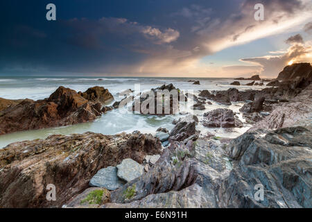 Rocky Coast at Ayrmer Cove in South Devon, South Hams, England, United Kingdom, Europe. - Stock Photo
