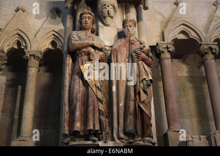 Gothic statues of Margrave Eckard II and his wife Uta in Naumburg Cathedral in Naumburg, Saxony Anhalt, Germany. - Stock Photo