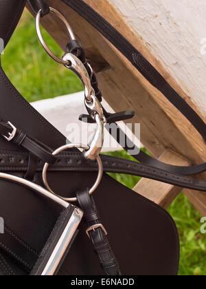 Bridle and horse dressage saddle. close up - Stock Photo