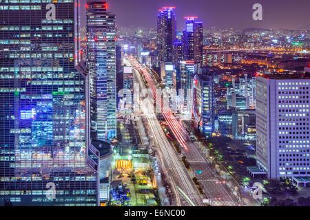 Seoul, South Korea cityscape at Teheranno District at night. - Stock Photo