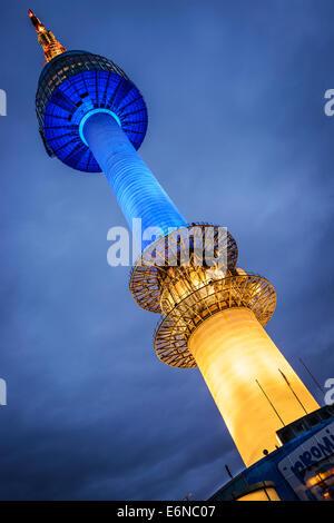 SEOUL - FEBRUARY 17: N Seoul Tower February 17, 2013 in Seoul, KR. It marks the highest point in Seoul. - Stock Photo