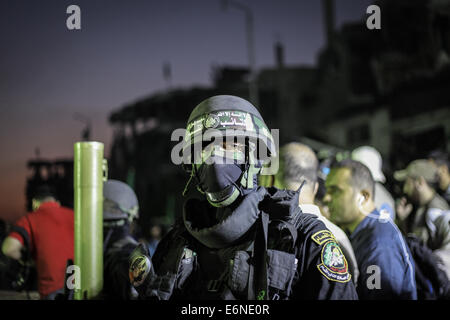 The Palestinian fighters join the military parade organized by Abu Ubaida. Abu Ubaida the spokesman for the Qassam - Stock Photo