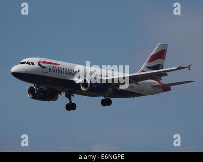 G-EUOE British Airways AIRBUS A319-131, 12Aug2014, landing at Schiphol (AMS - EHAM), The Netherlands, pic1 - Stock Photo