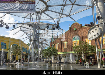 Restored Shop Houses inside the Shopping Centre at Clarke Quay, Singapore - Stock Photo