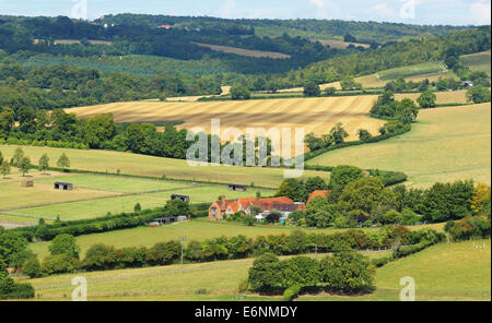 Farmhouse in the rolling Chiltern Hills in Buckinghamshire - Stock Photo