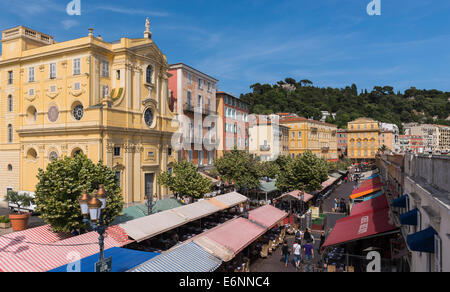 Nice, Provence, France, Europe - Colorful restaurants are architecture in the Old Town - Stock Photo