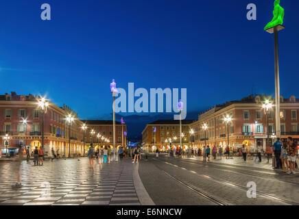 Place Massena square in the Old Town center of Nice, Provence, France, Europe - with sculpture columns - Stock Photo